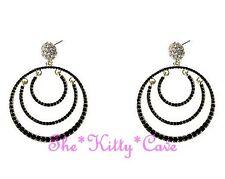 Large Dramatic Black 14KGP Gold Chic Catwalk Creole Hoop Crystal Bling Earrings
