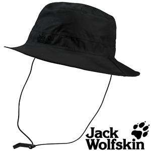 Jack Wolfskin Texapore Ecosphere Rain Bucket Hat Cap Brim Hunting Hiking - Black