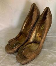 Dolce & Gabbana Bronze Leather Heels Pumps Buckle Size 40/ 9.5-10 M