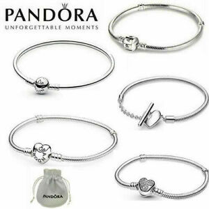 17-21 CM Pandora Heart Clasp Charm Snake Bracelet S925 Sterling Silver with Bag