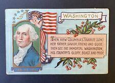 Antique Patriotic Postcard George Washington, Lady, Flag, Cherries Embossed
