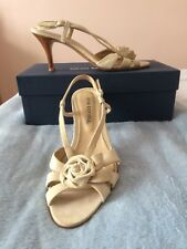 Cream leather evening strappy sandals
