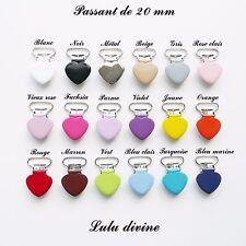 AU CHOIX 2 Pinces Coeur couleur , Clip, Attache tétine sucette passant de 20 mm
