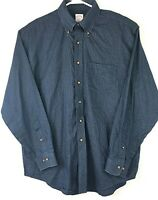 Brooks Brothers 346 Button Front Long Sleeve Shirt Blue Large Check Mens