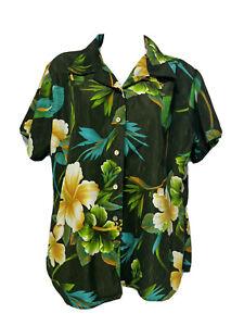 ten2one women's Size L Green Hawaiian Floral button up short sleeve top
