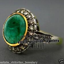 Diamond Emerald Studded Silver Ring Jewelery Artdeco Estate 1.85ct Pave Rose Cut