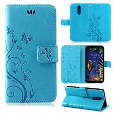LG K40 Handy Tasche Handyhülle Wallet Case Schutz Hülle Blumen Flip Cover Etui