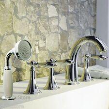 Chrome Deck Mounted Bathroom Bathtub Faucet Tub Mixer Tap 5PCS Hand Shower Set