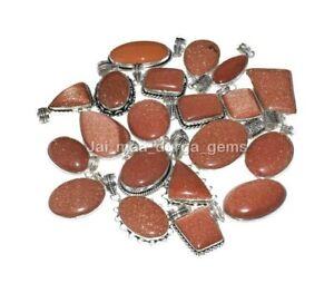 10 Pcs Lot Goldstone Sunstone 925 Sterling Solid Silver Colet Pendants SCP-52