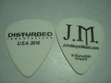 DISTURBED white pick with black logo John Moyer Guitar Pick USA 2016 Tour
