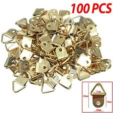 100Pcs Picture Frame Triangle D Rings Hooks + Screws Plated Wall Canvas Hangers