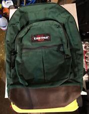 Vintage Eastpak Backpack Green Leather Bottom Made In USA