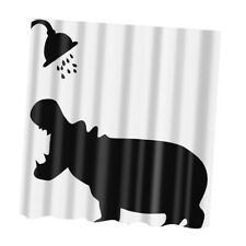 Water Resistant Fabric Hippo Shower Curtain Bathroom Liner Panel Decor