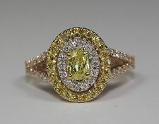 14k Rose Gold Oval Natural Canary Yellow Diamond And White Diamonds Ring Size 6