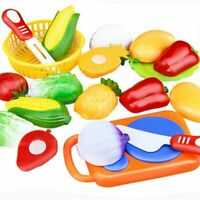12 Pcs/Set Kids Toy Plastic Fruit Vegetable Food Cutting Pretend Play Early