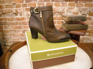 Naturalizer Lucille Brown Leather Zipper Ankle Boots 8 W NEW