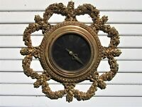 Large SYROCO MID-CENTURY Quartz GOLD WALL CLOCK VINTAGE Hollywood Regency