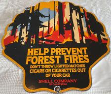 New ListingVintage Shell Oil Porcelain Sign Gas Station Safety Advisory Prevent Forest Fire