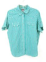 Wrangler Wrancher Shirt Short Sleeve Pearl Snap Blue Plaid Check Womens XXL
