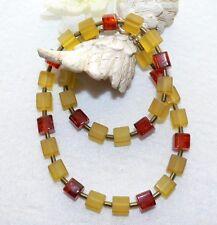 Kette Würfelkette Bernstein honig  Beige Braun Bronze Gold 442jj