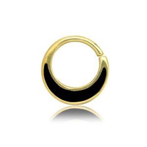 ORNATE SMALL BLACK SHELL 16G BRASS SEPTUM 9MM RING DIAMETER NOSE  HOOP