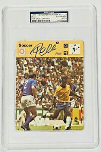 Pele Autographed 1977-79 Sportscaster 5 x 6 1/4 Oversize Card PSA DNA Slabbed