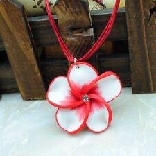 collar cordon  flor tiare fimo rojo etnico romantico boho