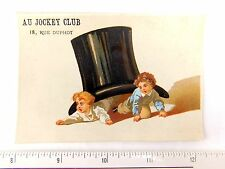Adorable Au Jockey Club, Paris Hat Store, 18, Rue Duphot Top Trade Card F46