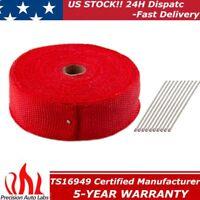 "2"" x 50FT Exhaust Header Fiberglass Heat Wrap Tape w/ 10 Steel Ties Kit Red 15M"