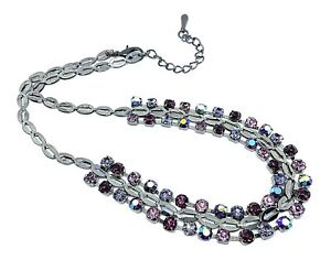Fashion Necklace Crystal Rhinestone Necklace Metallic Gunmetal Necklace
