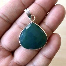 Precioso Facetado Onyx Verde Piedra Preciosa & Colgante Plata Esterlina 925