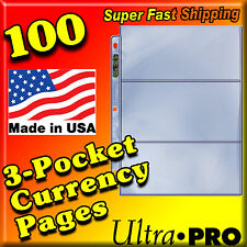 100 PAGES 3 POCKET CURRENCY COUPON STORAGE REFILL BINDER ALBUM SHEETS PAGES