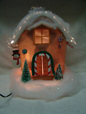 LARGE FIBEROPTIC CHRISTMAS HOUSE W/SNOWMAN/CANDY CANES/ TREES FREE SHIPPING