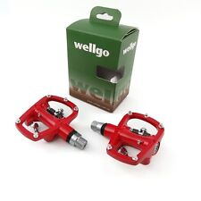 """Wellgo R120B Aluminum 9/16"""" Road Bike Bicycle Cycling Pedals Platform - Red"""