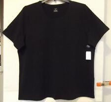 CJ Banks Size 2X Solid Black knit top, short sleeves,  jewel neckline  NWT