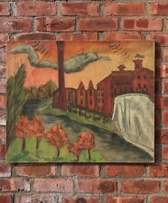 Modernist Painting By Adelaide Lawson Gaylor. Long Island Factory Scene C1950