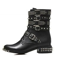 Women Ankle Rivet Thick Low Heels Round Toe Lace Up Leather Motorcycle Punk Shoe