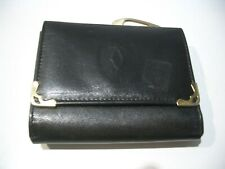 VINTAGE RARE CARTIER  BLACK LEATHER SMALL  WALLET WITH  KISS LOCK CHANGE POCKET