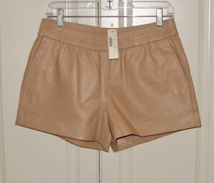 NWT J Crew Collection sz 4 dark sand beige perforated leather shorts A7891 $268