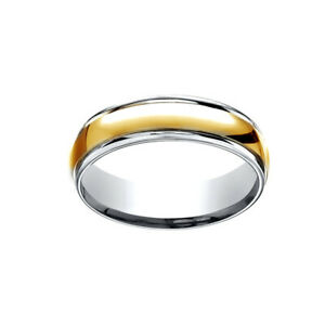 14K Two-Tone Gold 6MM Comfort-Fit Polished Carved Yellow Men's Band Ring