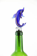 Murano Inspired Glass Indigo and Gold Dolphin and Gift Box Wine Bottle Stopper