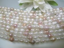 Rare 2 loose str vintage fatter rice pear Japanese freshwater pearl multi color
