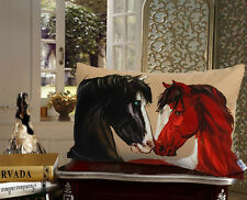 Decorative Velvet Pillow Cushion Cover Horse Animal Double Sides Printed 35x50cm