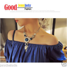 Fashion Vintage Silver Chain with Blue Gems Chic Necklace