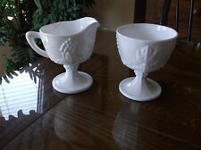Harvest Grape Footed Creamer & Sugar Set Indiana Glass Milk Glass