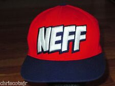NEFF Red White Blue Stretch Fitted Baseball Cap Hat size S/M Small Medium
