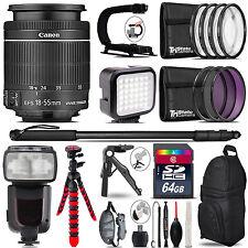 Canon 18-55mm IS STM - Video Kit + Pro Flash + Monopad - 64GB Accessory Bundle
