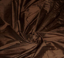 100% Natural Silk Dupioni Fabric Dark Brown Chocolate Luxurious By The Yard SALE