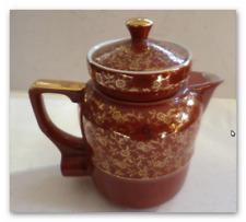 """Kaffeekanne """"Aromator"""" elektrisch  goldenes Blüten Design auf rotem Porzelan rar"""