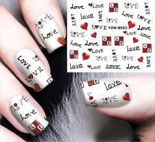 Nail Art Stickers Water Decals Transfers Love Heart Gel Polish